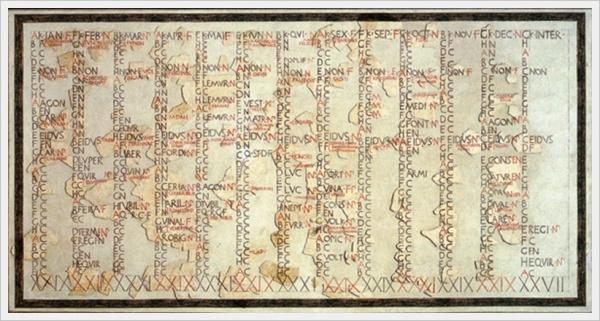 Inscrição do calendário romano de Rómulo com a presença dos meses de Januarius e Februarius